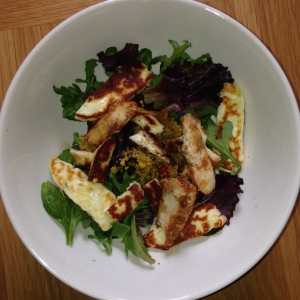 Haloumi and chicken salad